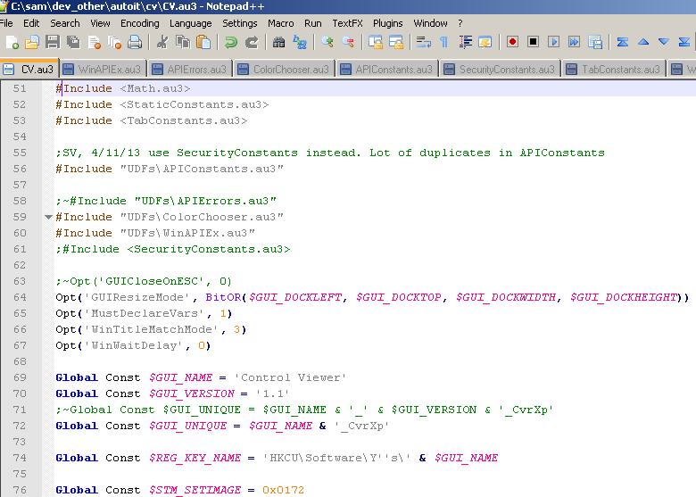 au3 scripts in notepadpp